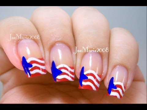 Red, White & Blue Stars 4th of July Nail Design - Red, White & Blue Stars 4th Of July Nail Design - YouTube