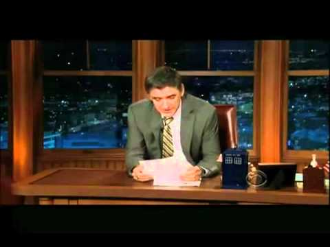 Craig Ferguson unable to hold it during an exchange with his robot sidekick