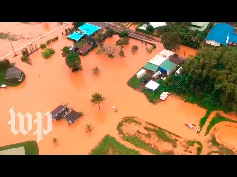 View from above: Hawaii floods leave damage behind, residents stranded