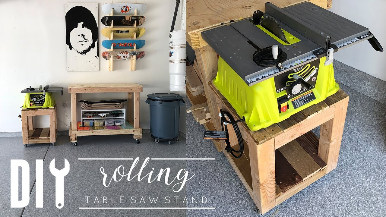 Diy Rolling Side Table Rolling Table Saw Stand Youtube