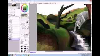 """Paint Tool Sai Урок """"Пейзаж - это просто"""" Часть 3"""