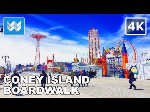 Walking around Coney Island Beach & Boardwalk in Brooklyn, New York 【4K】
