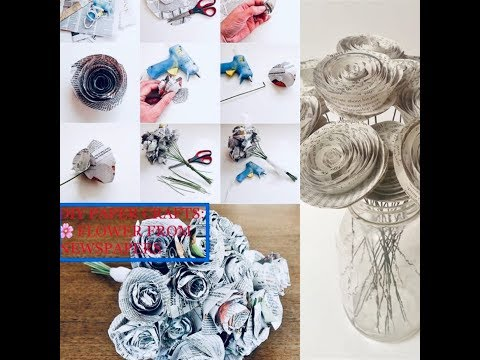 DIY PAPER CRAFTS: 🌸 FLOWER FROM 📰 NEWSPAPER|Easy Newspaper Flowers DIY - Red Ted Art