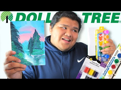I Tried Following A Bob Ross Tutorial ONLY USING DOLLAR TREE SUPPLIES !!!