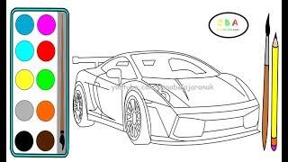Menggambar dan Mewarnai Mobil Balap   Cara Menggambar Mobil Balap Lamborghini