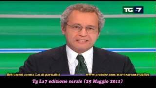 """Berlusconi accusa La7 di """"stare con la sinistra"""". Mentana risponde a dovere (24Mag2011)"""