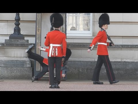 Buckingham Palace guard slips and falls in front of hundreds of tourists