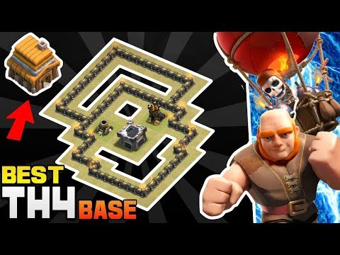 Clash Of Clans Town Hall 4 Defense Base (COC Th4 Base) | Best Th4 Hybrid/Trophy/War/Farming Base