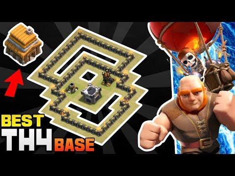 Clash Of Clans Town Hall 4 Defense Base (COC Th4 Base)   Best Th4 Hybrid/Trophy/War/Farming Base