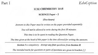 ICSE 2018 Chemistry Solved Question Paper