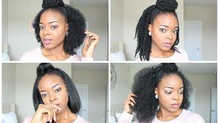 Half Up Half Down Hairstyles 4 Ways | Crochet + Glue Method - IfyYvonne