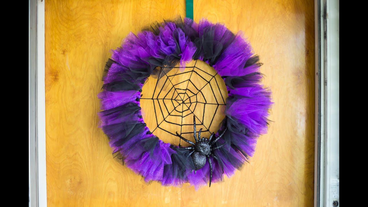 Halloween Spider Web Wreath - YouTube
