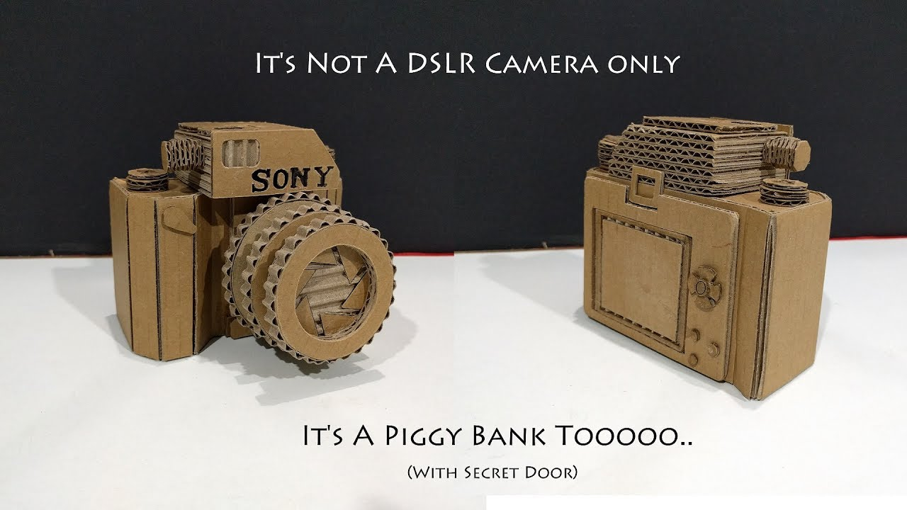 how to make a dslr camera piggy bank safe from cardboard with secret lock sony camera youtube. Black Bedroom Furniture Sets. Home Design Ideas