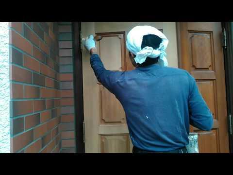 あんしん塗装店 玄関ドアバトン着色 芦屋市