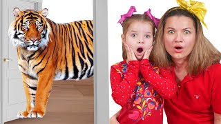 Nicole and mama have set up a home zoo Pretend play with Learn Nicole