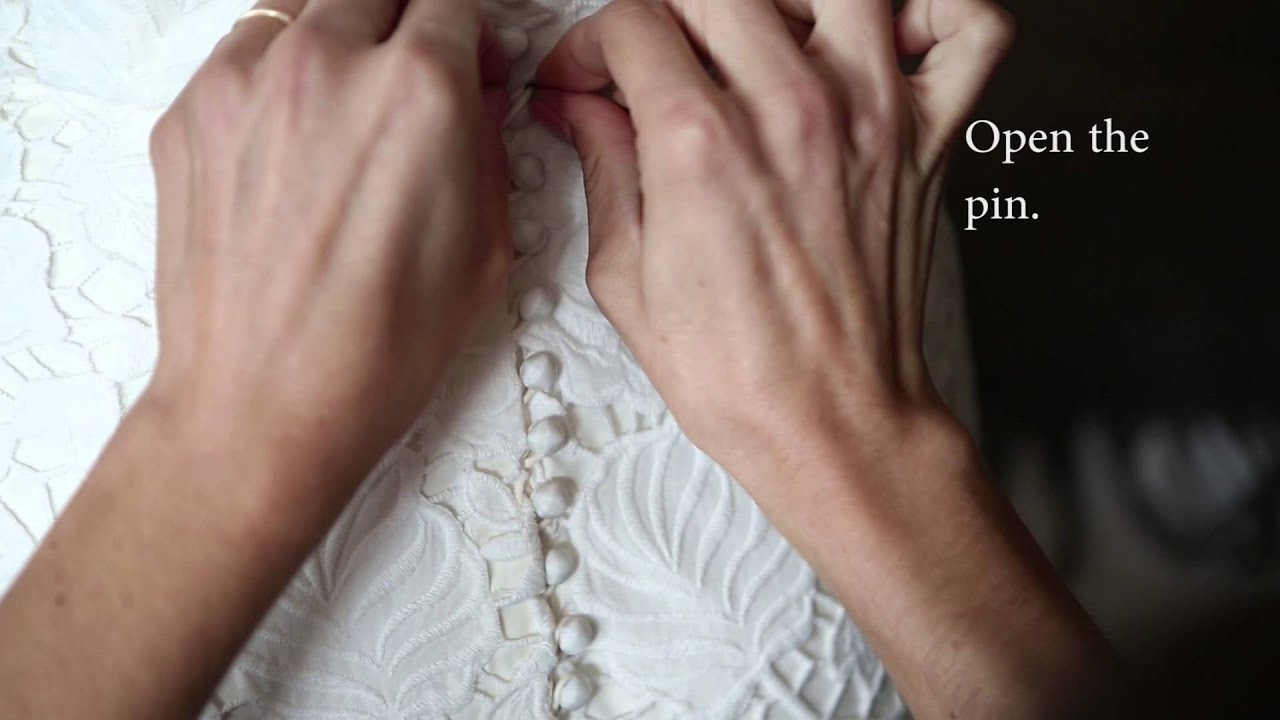 Helpful trick to button a wedding dress using a bobby pin - YouTube