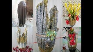 Vasos Decorativos com Toalhas Velhas e Cimento