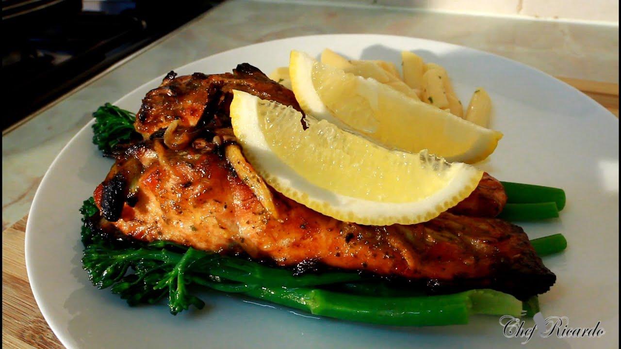 Jerk Salmon Recipe [served With Broccoli & Herb Pasta ]