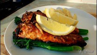 Jerk Salmon Recipe Served With Broccoli & Herb Pasta