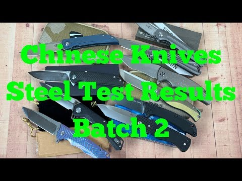 Chinese knives steel test results Batch 2   Titanium scales, Blade steel & HRC Results