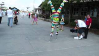 Handstand Stilt Walker Tries To Set Record At Downtown Disney