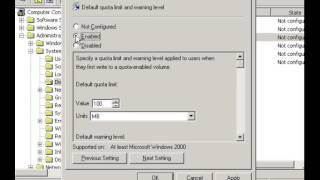 Implementing a Disk quota for users in Windows Server 2003
