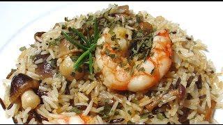 Arroz con setas y gambas bucólico campestre, muy fácil de hacer con arroz de vasitos de arroz Brillante.(de los del microondas) www.falsariuschef.com.