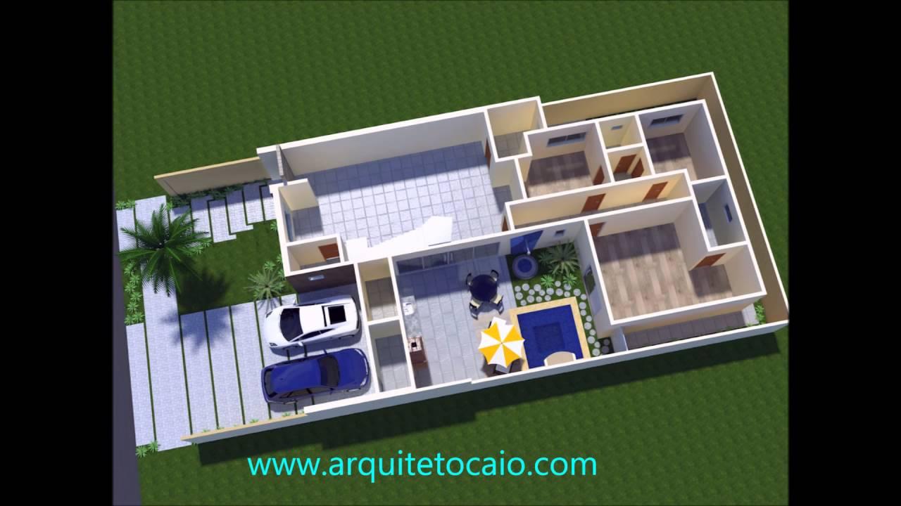 Projeto casa terrea moderna mezanino fachada arquitetura for Casa moderna 7x20