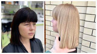 Декапирование из черного в пшеничный блондин Осветление черных волос и тонирование в блонд