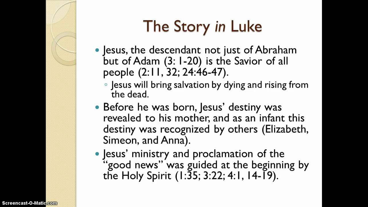 the themes of the gospel of luke Scripture « mark previous the gospel according to luke the gospel according to luke is the first part of a two-volume work that continues the biblical.