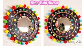 DIY Cardboard wall mirror | Boho room decor