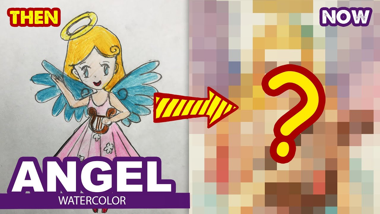 How to draw Angel Girl ? l Then and Now l Huta Chan