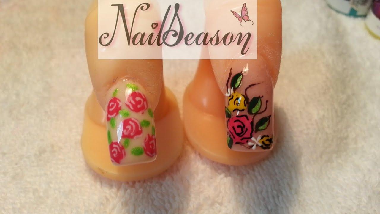 como hacer uas acrilicas flores vintage diseo tutorial nail art paso a paso youtube