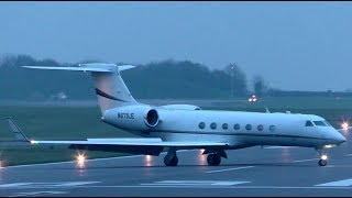 Gulfstream Aerospace G550 N671LE Landing at Cambridge Airport