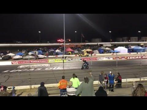 Kyle Slinger bike stunts at Lucas oil speedway