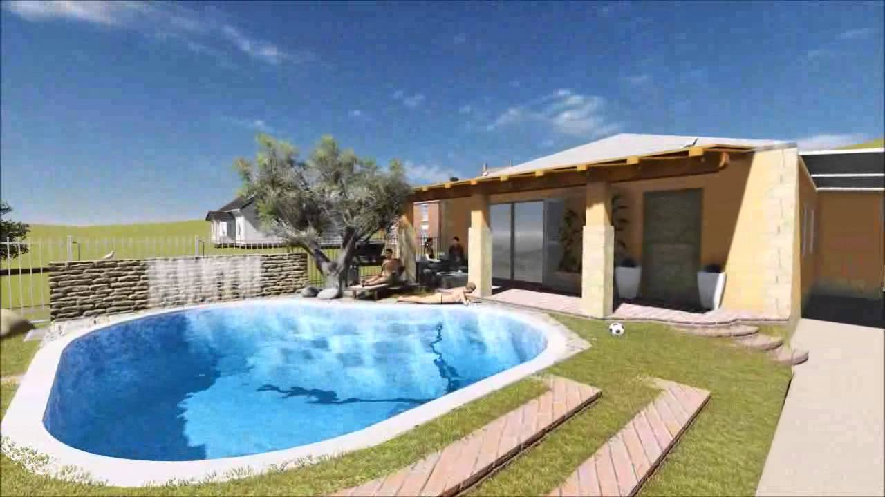 Progetto di casa con piscina youtube for Apartamentos rurales con piscina