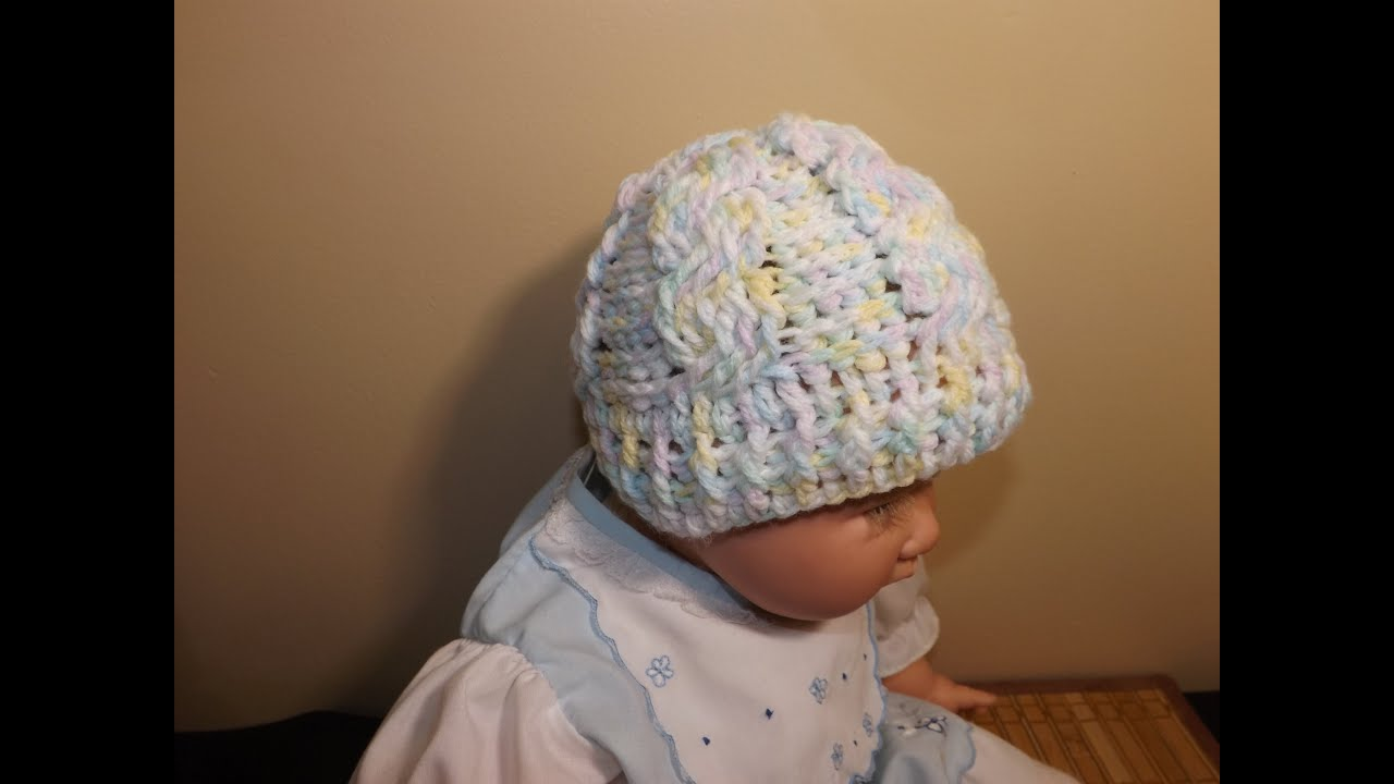 112fd595dd9d Crochet Cable Baby Hat - YouTube