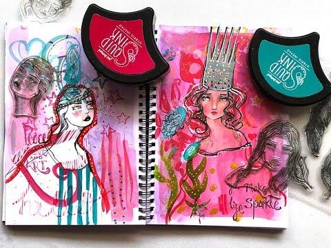 Using new Jane Davenport stamps in Mixed Media Art Journal