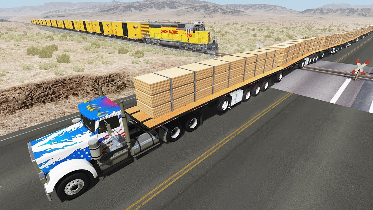 Long Giant Truck Accidents on Railway #5 - Beamng Drive | DancingCars