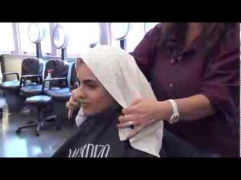 How to towel-wrap hair after shampoo demo