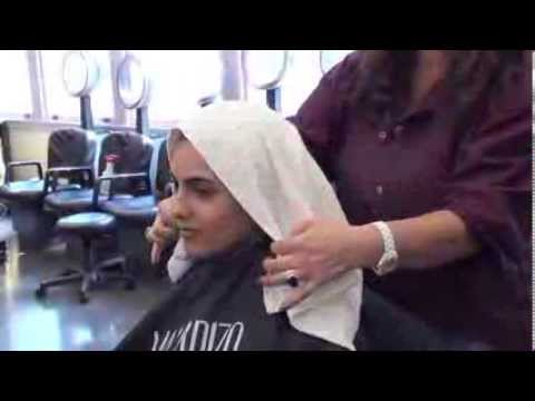 How to towel-wrap hair after shampoo demo - YouTube