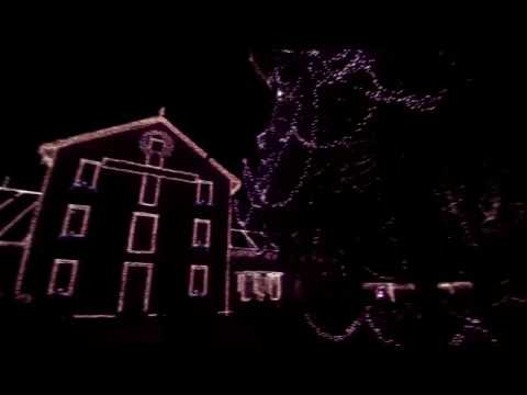 Clifton Mill Christmas Lights.Drone Flyover Clifton Mill Christmas Lights Display