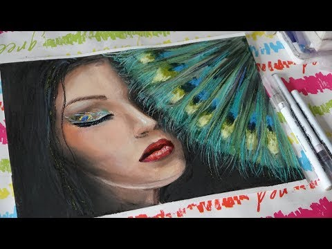 Girl with a fan of peacock | Speed drawing watercolor