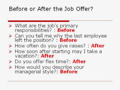 should you ask these questions before or after your job offer - After Job Offer Questions To Ask