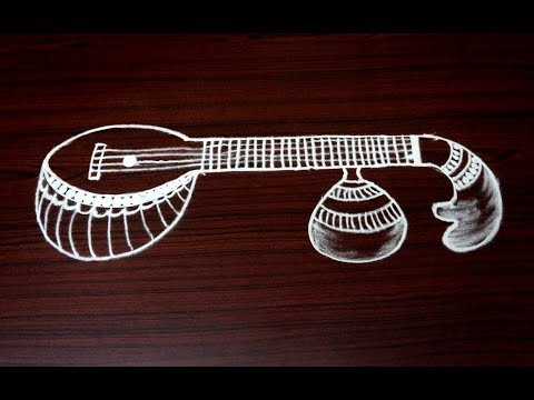 simple and easy veena rangoli designs || freehand kolam designs without dots || navratri rangoli