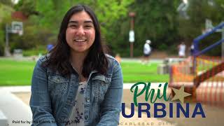 Madelyn Sequeira supporting Phil Urbina for Carlsbad City Council