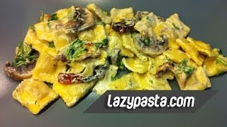 Ravioli with mushrooms and parsley  easy pasta recipes by Lazy Pasta