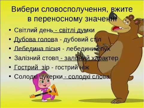 Українська мова (3 клас). Пряме і переносне значення слова