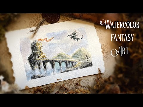 How to draw and paint Dragonstone | Easy Watercolor Tutorial| Game of Thrones Fantasy |Draw with me thumbnail