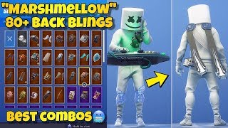 "NEW ""MARSHMELLO"" SKIN Showcased With 80+ BACK BLINGS! Fortnite Battle Royale (MARSHMELLO COMBOS)"